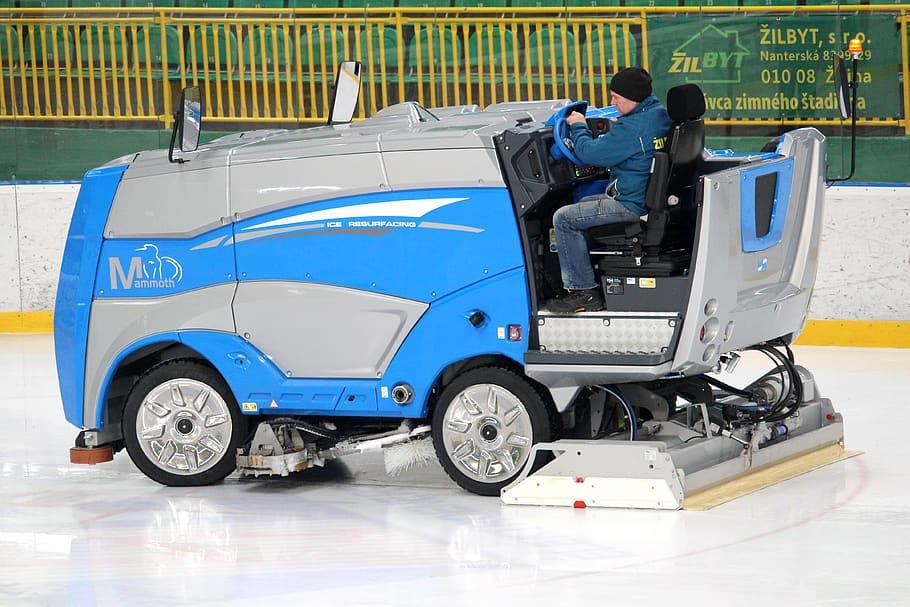 Zamboni cleaning in hockey ice stadium
