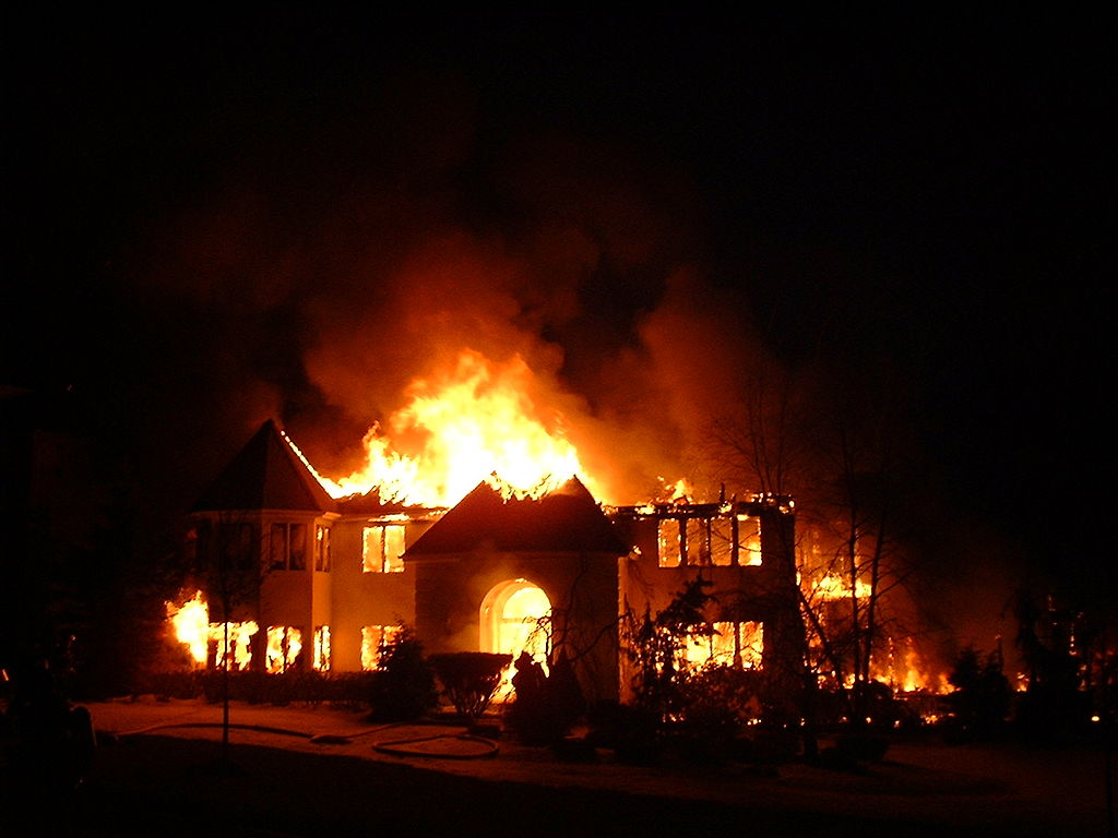 house on fire during winter