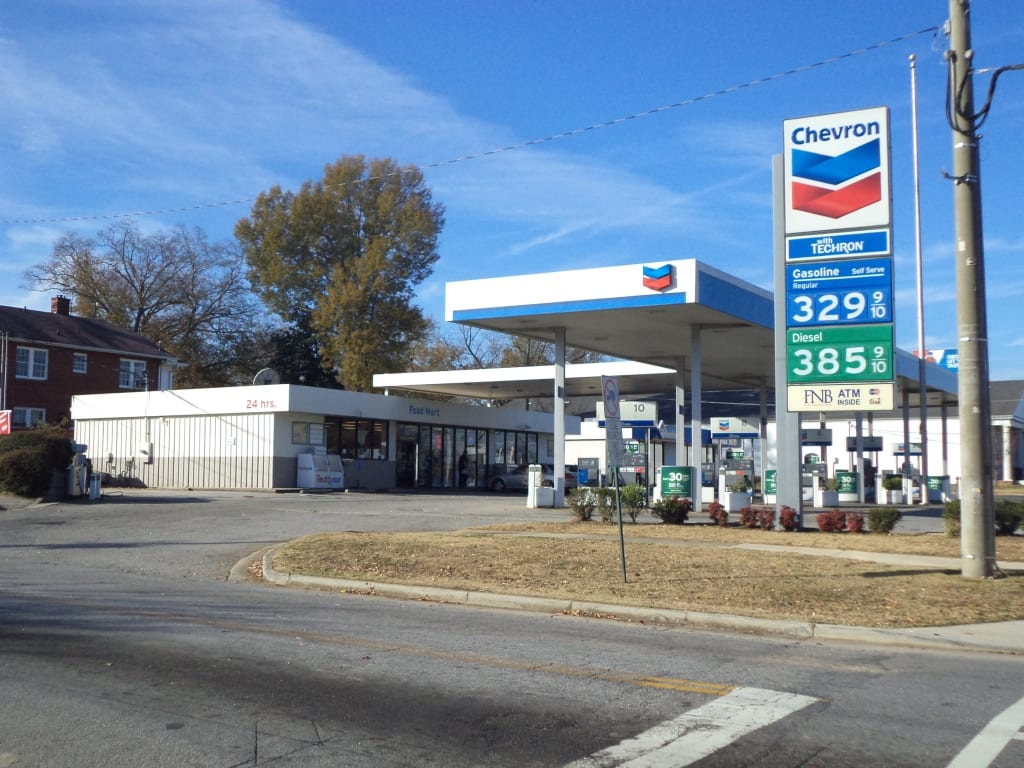 exterior shot of a chevron gas station