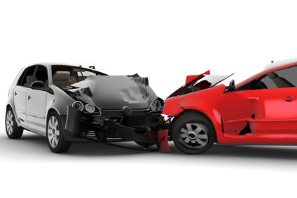 A red car and black car crash in an accident