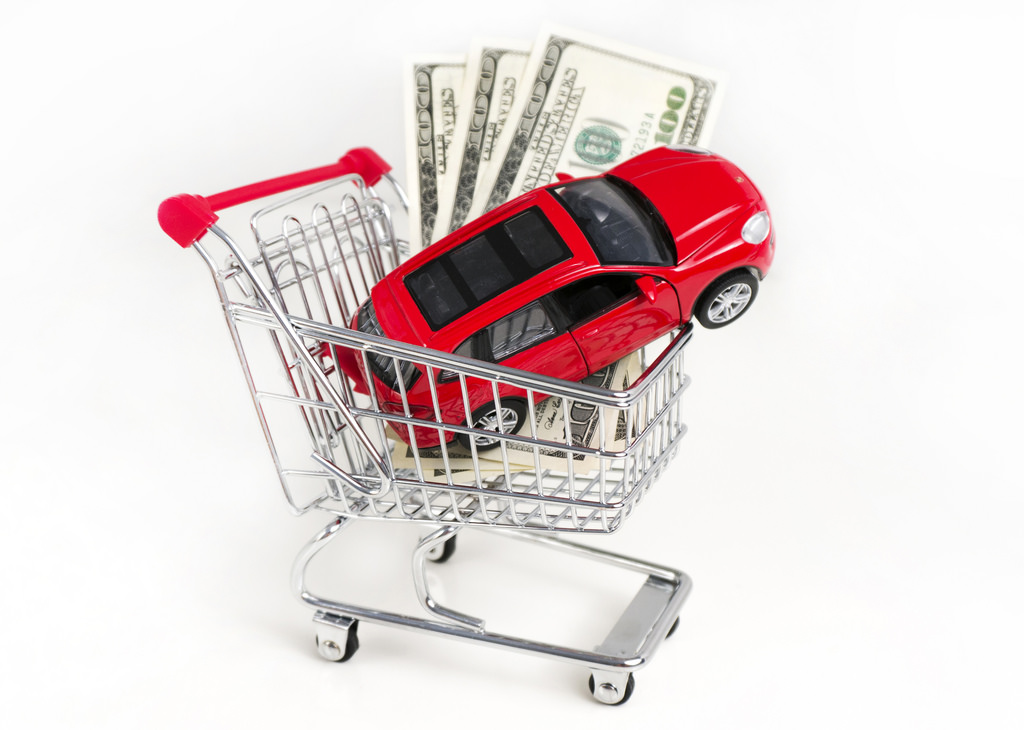 car and cash in a shopping cart