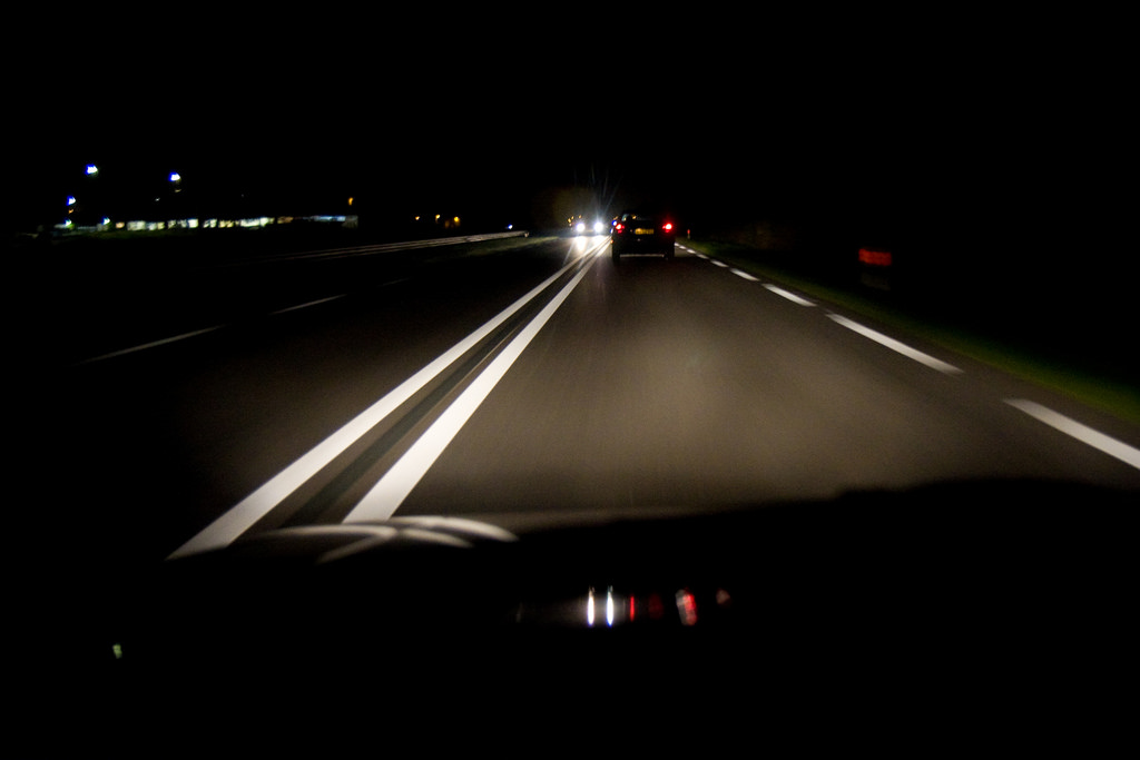 Driving on the road at night