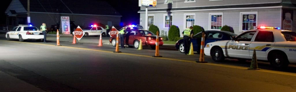 Cars at a DUI check stop