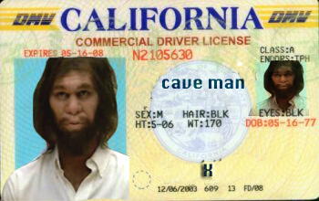 cave man drivers license