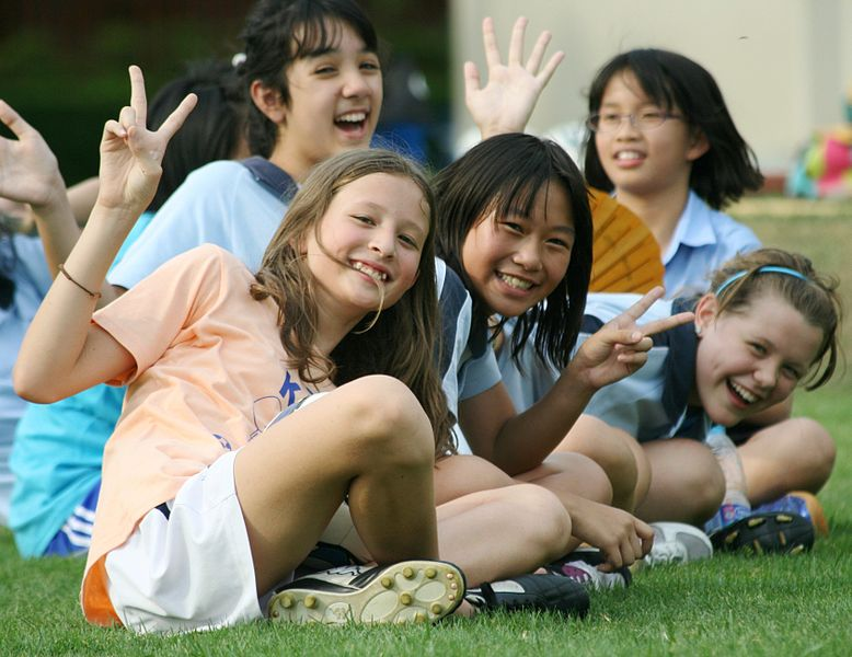 group of international school students