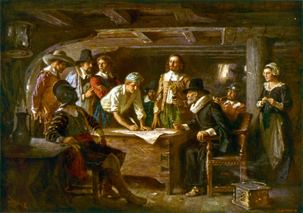Painting of The Mayflower Compact